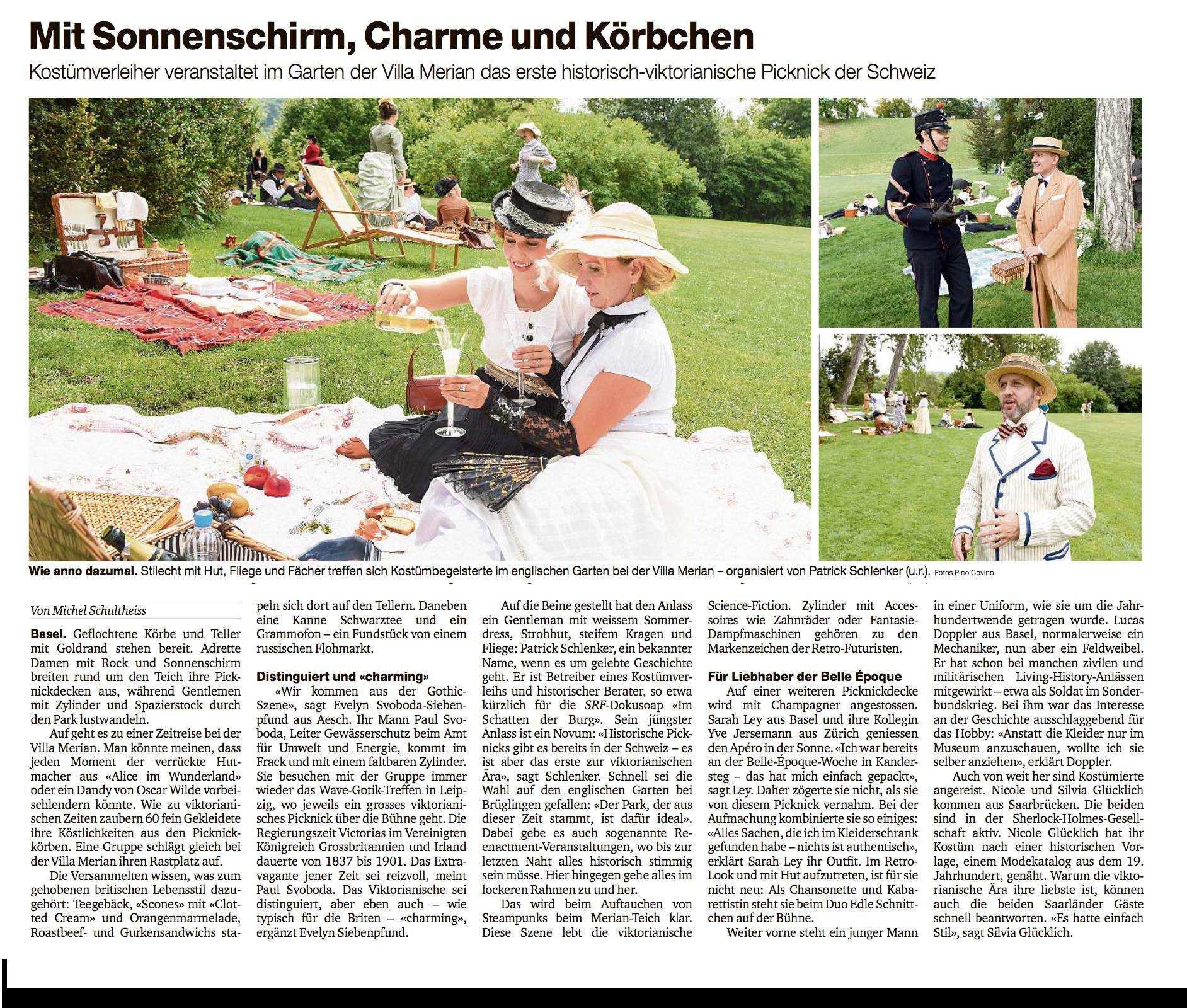 Basler Zeitung viktorianisches Picknick 2017